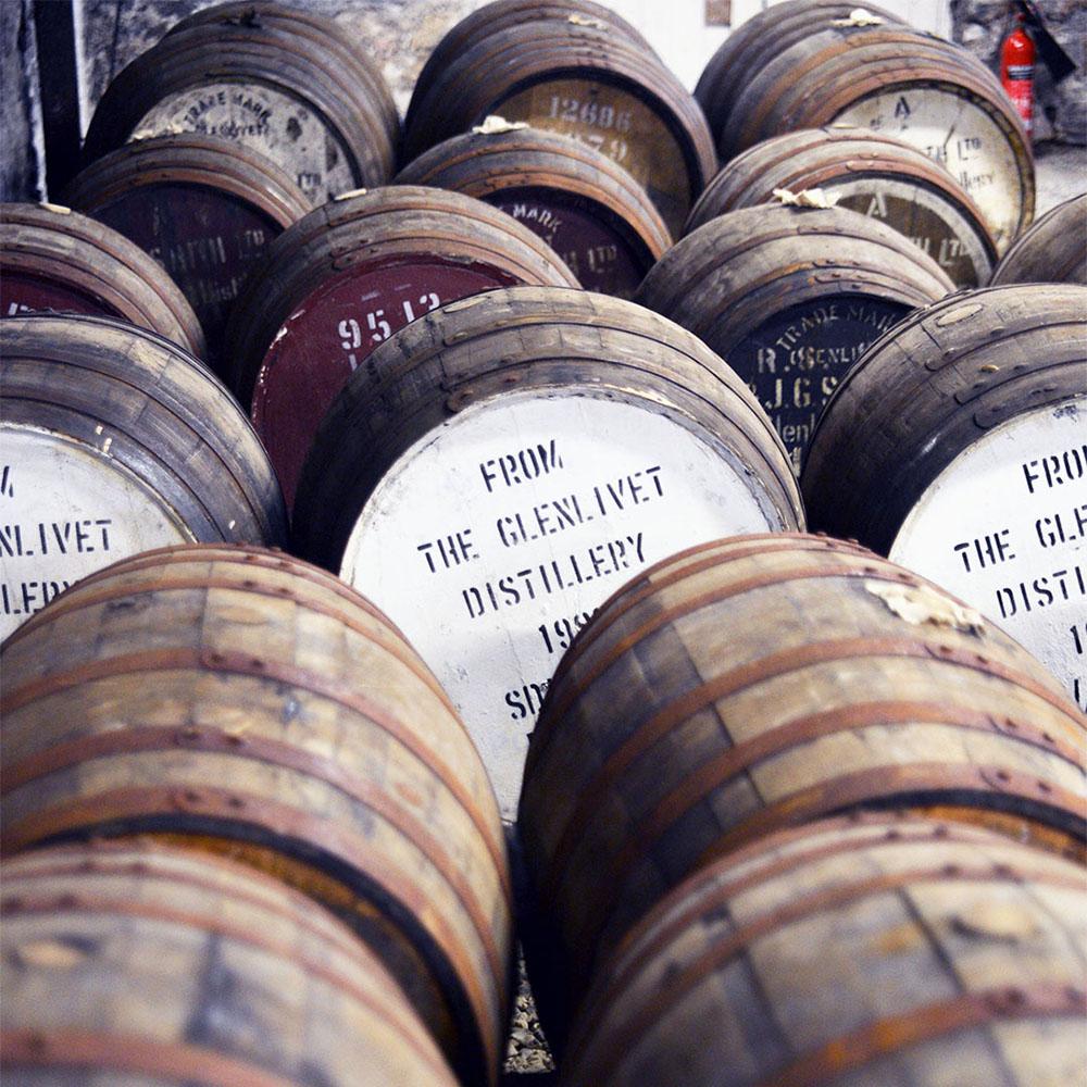 An assortment of casks from the Glenlivet Distillery