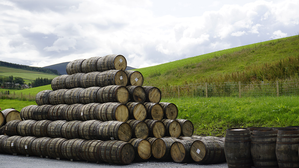 Whisky casks at GlenAllachie distillery
